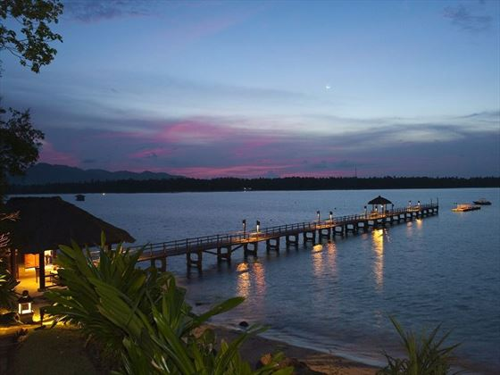 Private jetty at The Oberoi Beach Resort Lombok