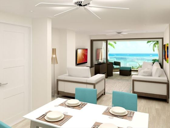 Artist's impression of the living and dining area