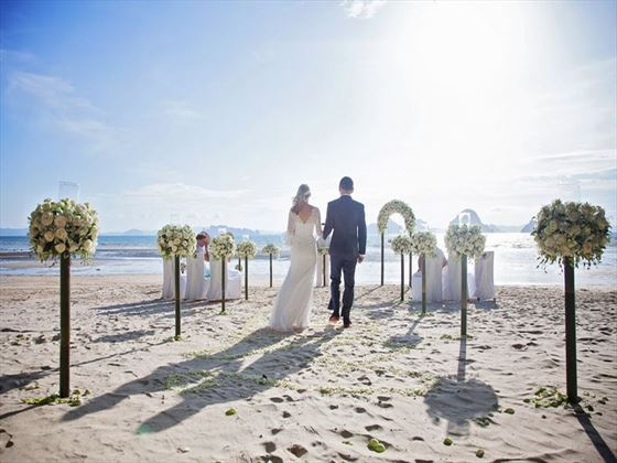 Bride & Groom on the beach at The Tubkaak Boutique Resort