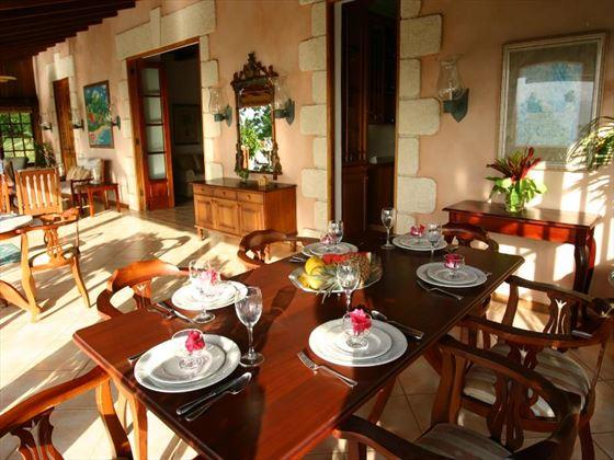 The dining area on the veranda
