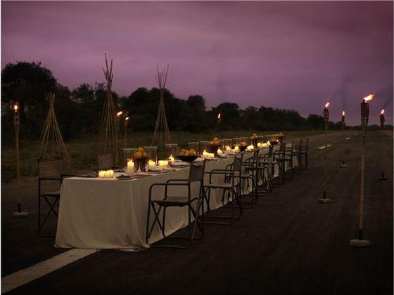 Thornybush Game Lodge airstrip dinner