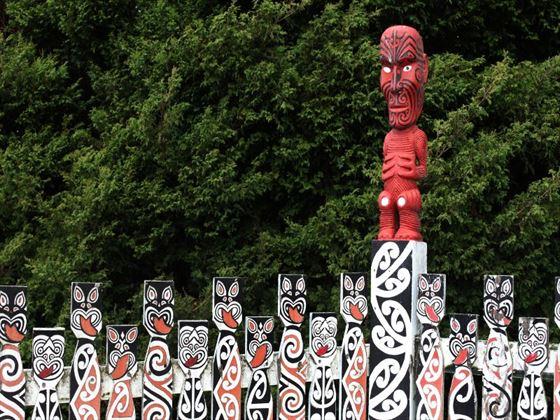 Traditional Maori carvings in Rotorua