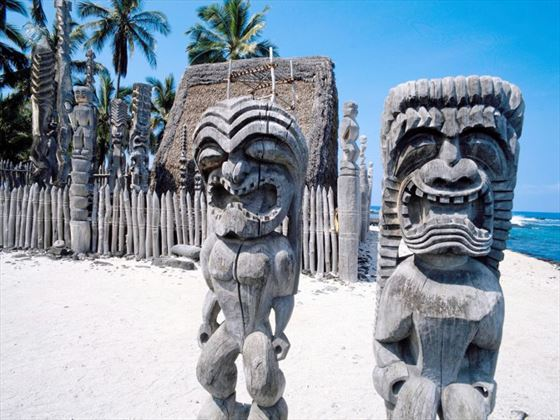 Traditional statues on the beach