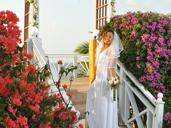 Happy Bride on the sun deck