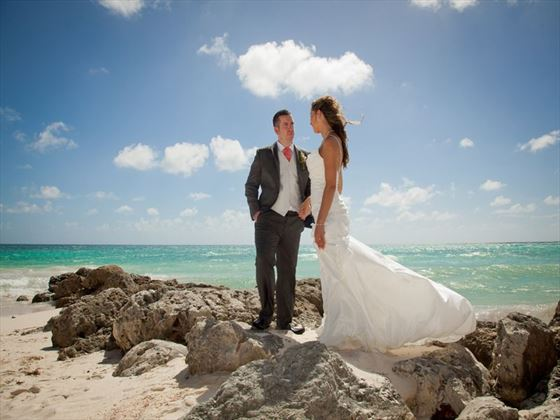Turtle Beach Barbados wedding couple