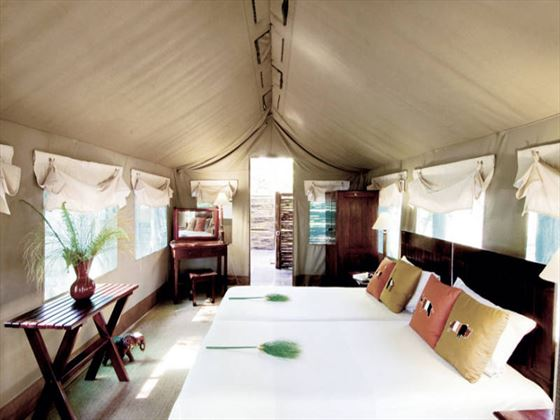 Twin bed tent at Camp Moremi