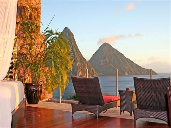 Typical balcony with views of the Pitons at Jade Mountain