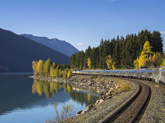 Travelling through the Canadian Rockies on board VIA Rail