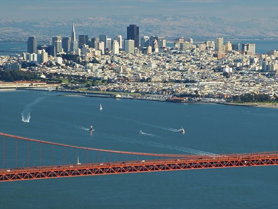 View of San Francisco from above the Golden Gate Bridge