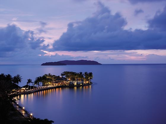 View of Shangri-La's Tanjung Aru Resort & Spa at night