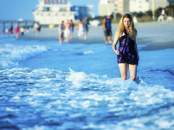 Wading in the sea at Myrtle Beach