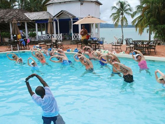 Water aerobics class at Windjammer Landing