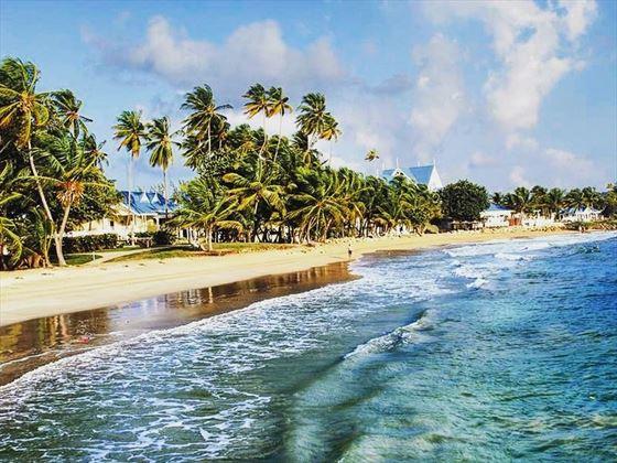 Waves lap the shore at Magdalena Grand Beach & Golf Resort