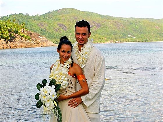 The wedding couple at Cap Lazare
