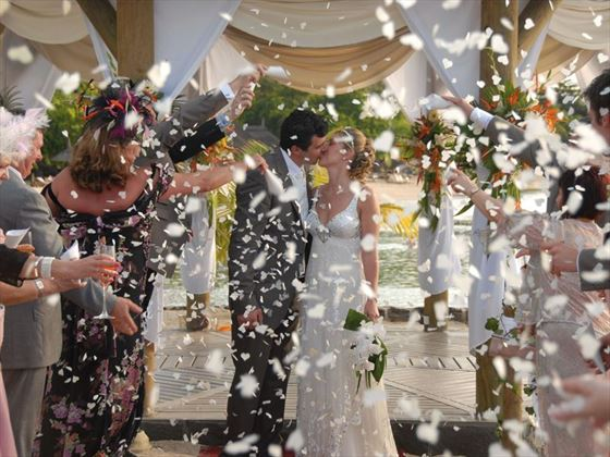 Confetti shower at the wedding gazebo