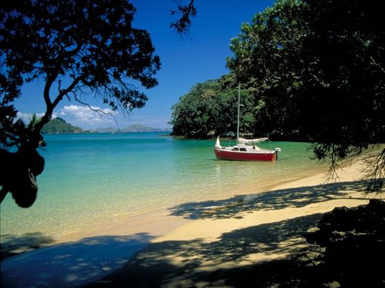 Yacht moored off the Bay of Islands