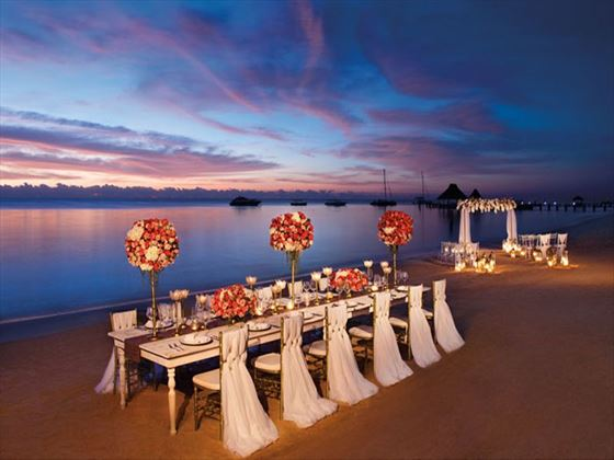 Beach wedding setting & reception