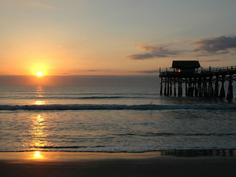 Sunset over Cocoa Beach Pier, Florida
