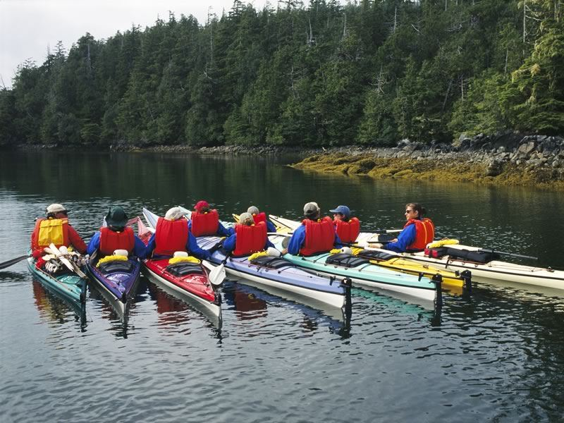 Group kayaking tour in the Broken Group Islands