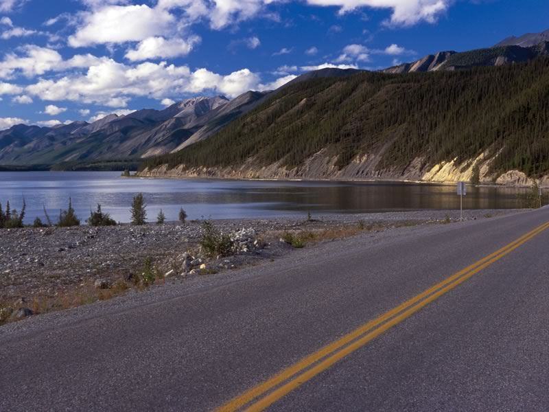 View of the Alaska Highway along Muncho Lake, Muncho Lake Provincial Park