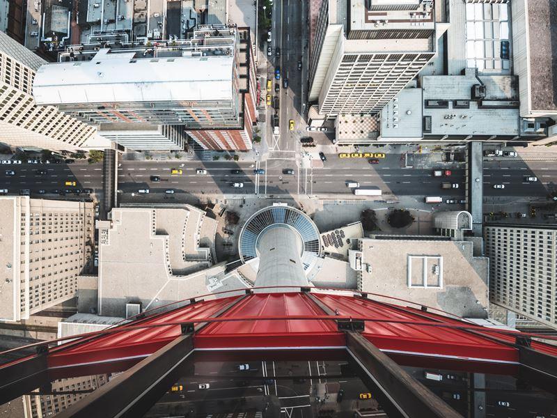 aerial downtown calgary
