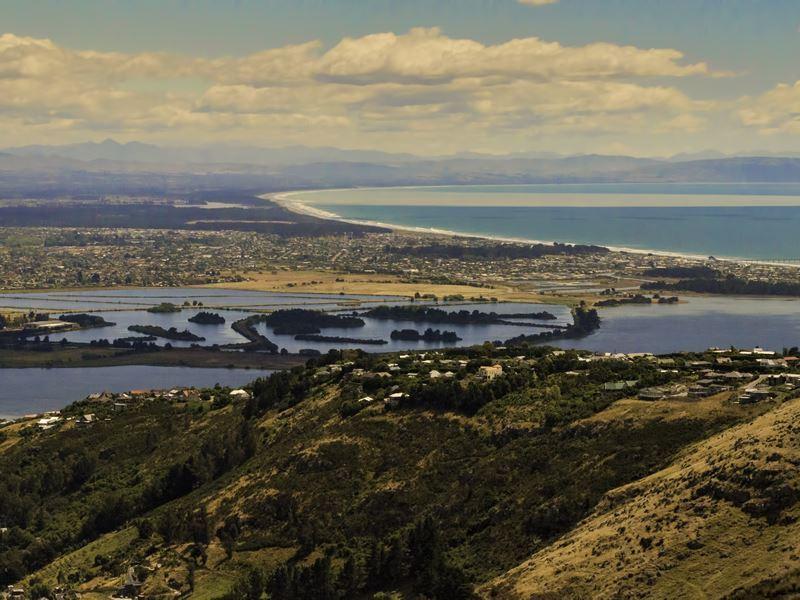 aerial view coast christchurch