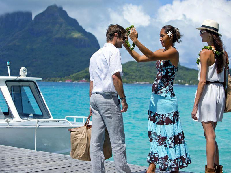 Arriving in Bora Bora by boat