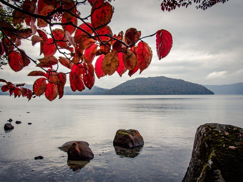 autumn morning lake towada japan