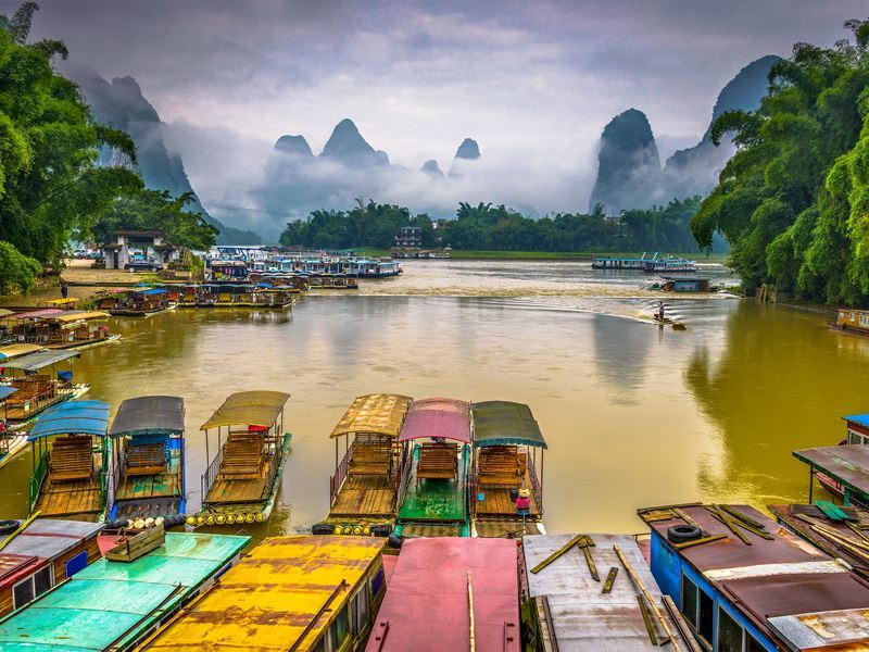 boats karst mountains guilin china