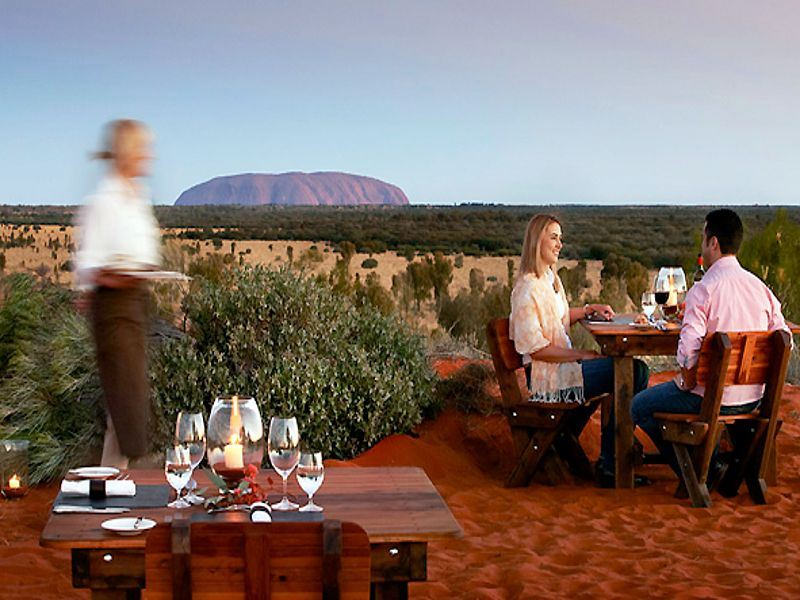 dining with views of uluru at sails in the desert