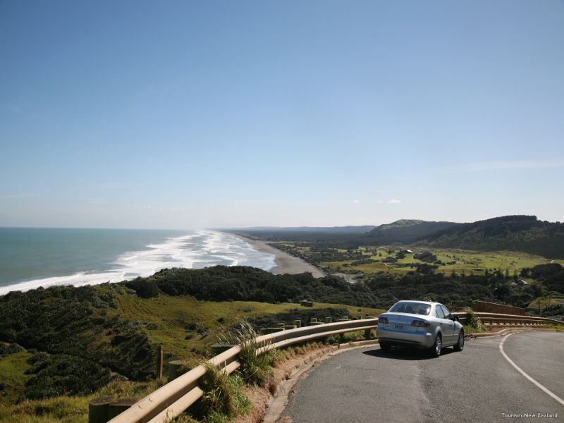 driving to muriwai beach   nz tourism