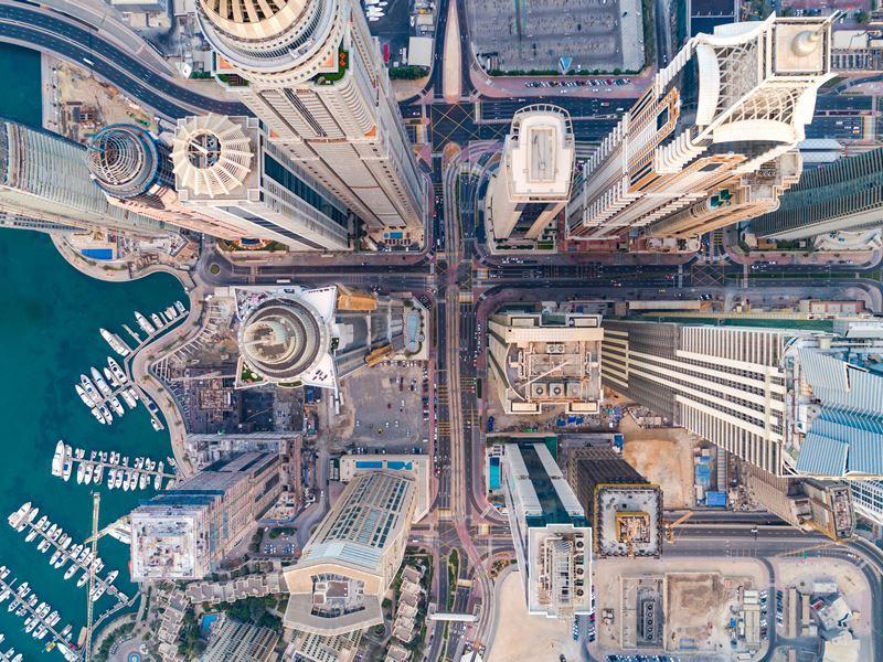 dubai marina urban aerial