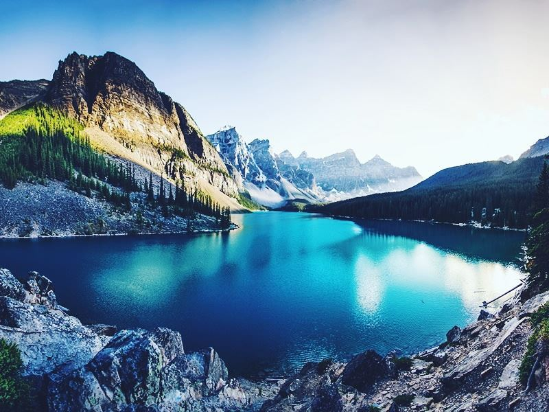 glistening waters moraine lake alberta