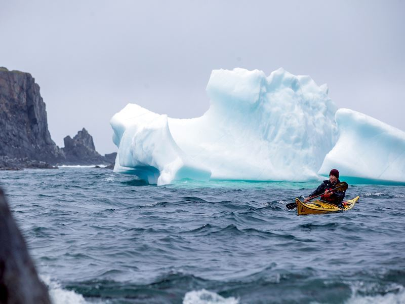 kayaker with iceberg off quirpon island western
