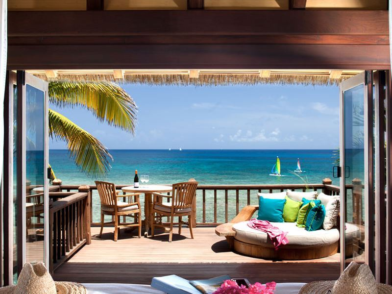 looking out to the water at necker island