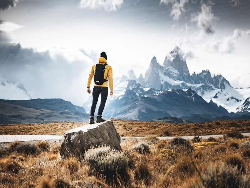 man hiking el chalten