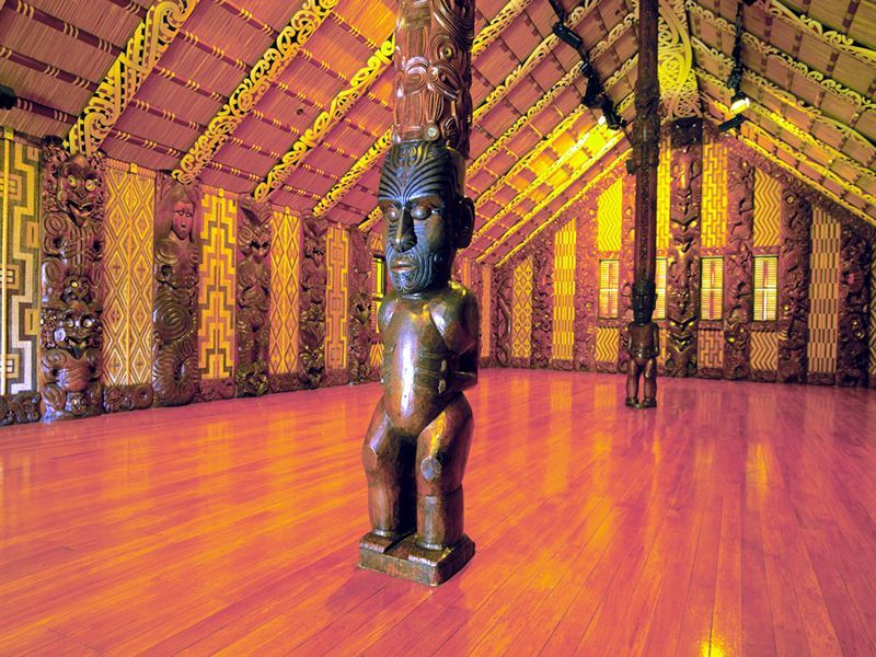 maori marae meeting house waitangi n island new zealand