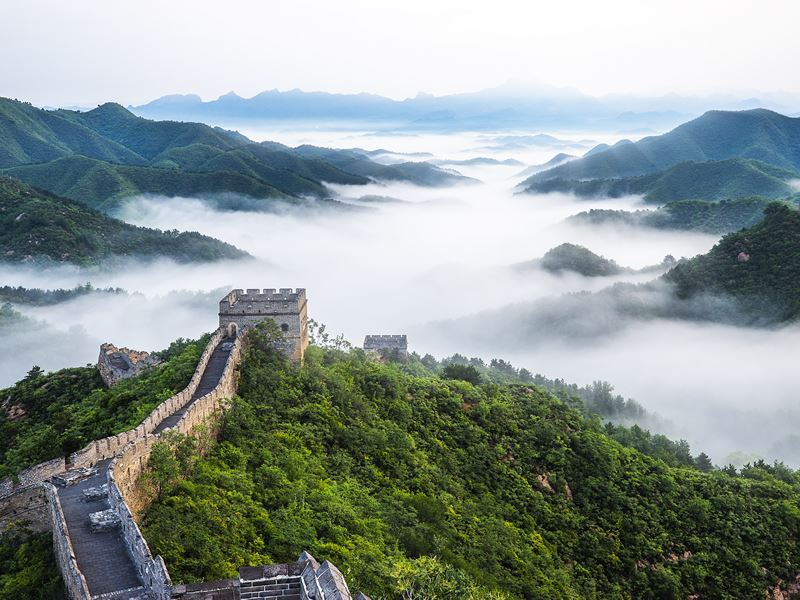 misty morning over great wall china