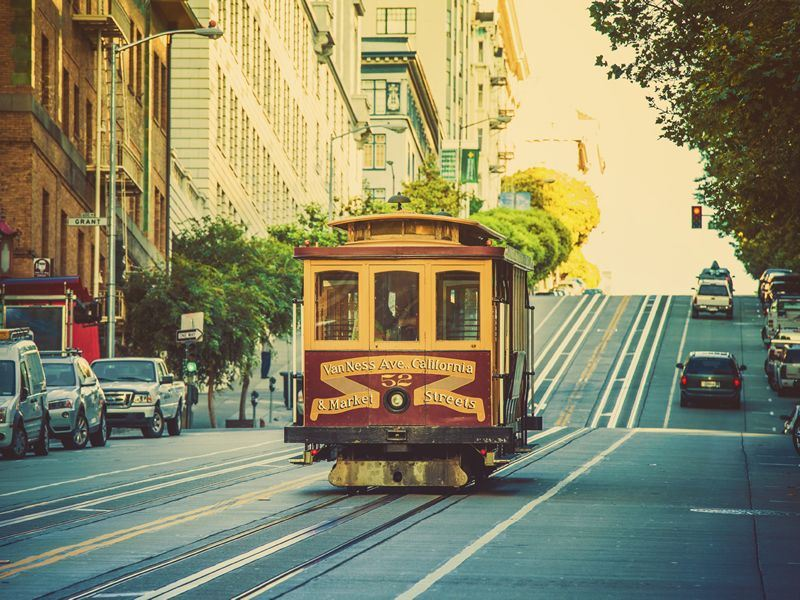 old cable car on the street of san francisco