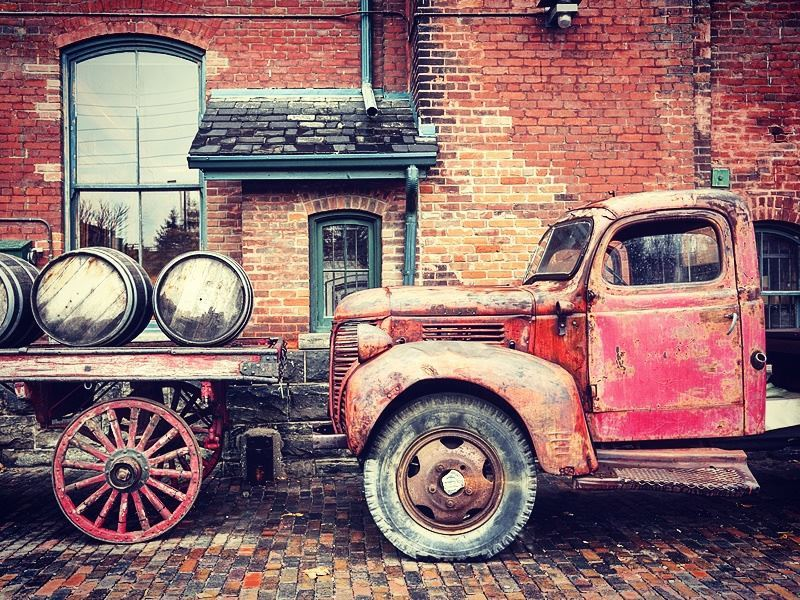 Old whiskey truck in Toronto's Distillery District