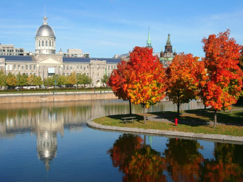 old montreal bonsecours market reflections in autumn