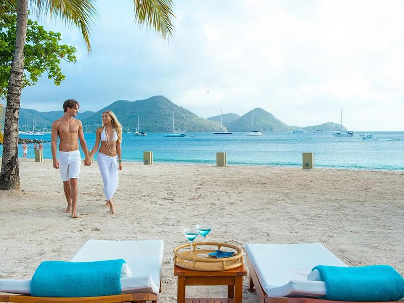 on the beach at sandals grande st lucian spa beach resort