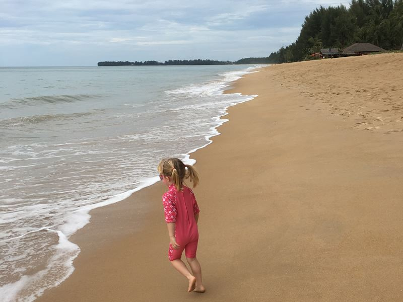 playing on the beach in khao lak