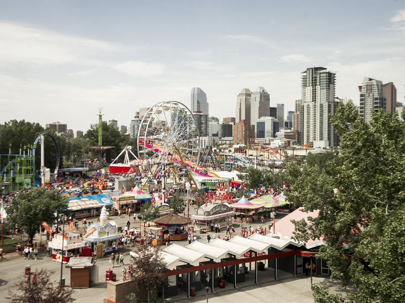 Rides and food stalls at Calgary Stampede