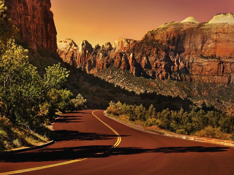 road into zion national park
