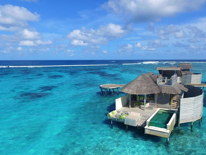 six senses laamu water villa aerial view