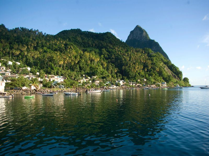 st lucia view of soufriere town