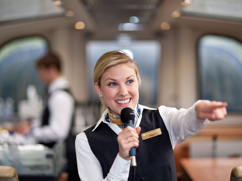 storytelling with a rocky mountaineer host