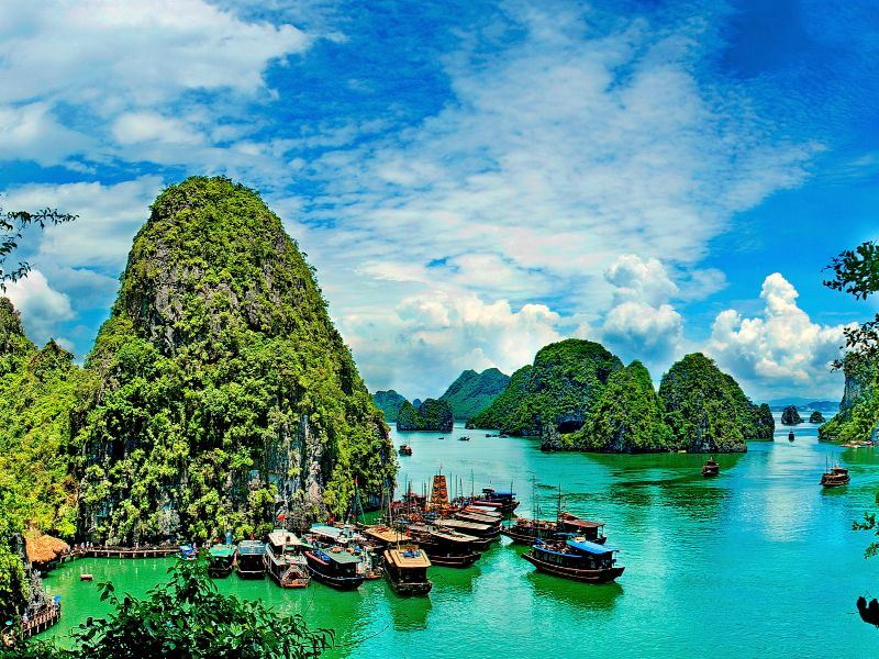 summer seascape on halong bay vietnam