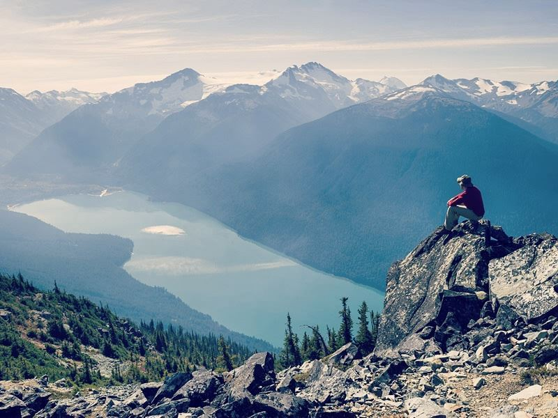 taking in the view of cheakamus lake whistler